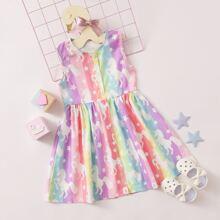 Toddler Girls Rainbow Stripe Unicorn Print Dress
