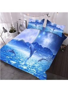 Jumping Dolphins under Starry Sky 3D Printed 3-Piece Comforter Sets