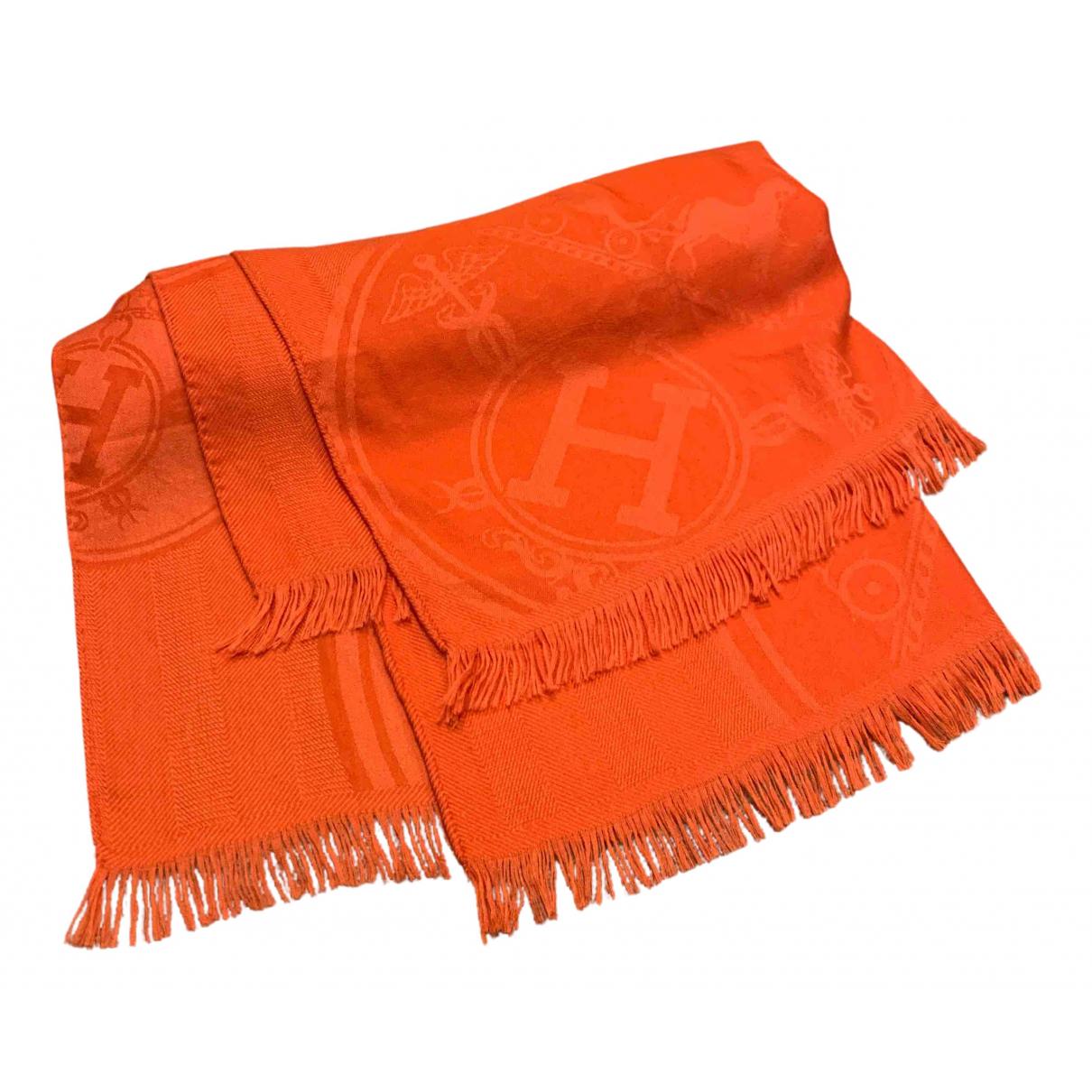 Hermes - Foulard   pour femme en cachemire - orange