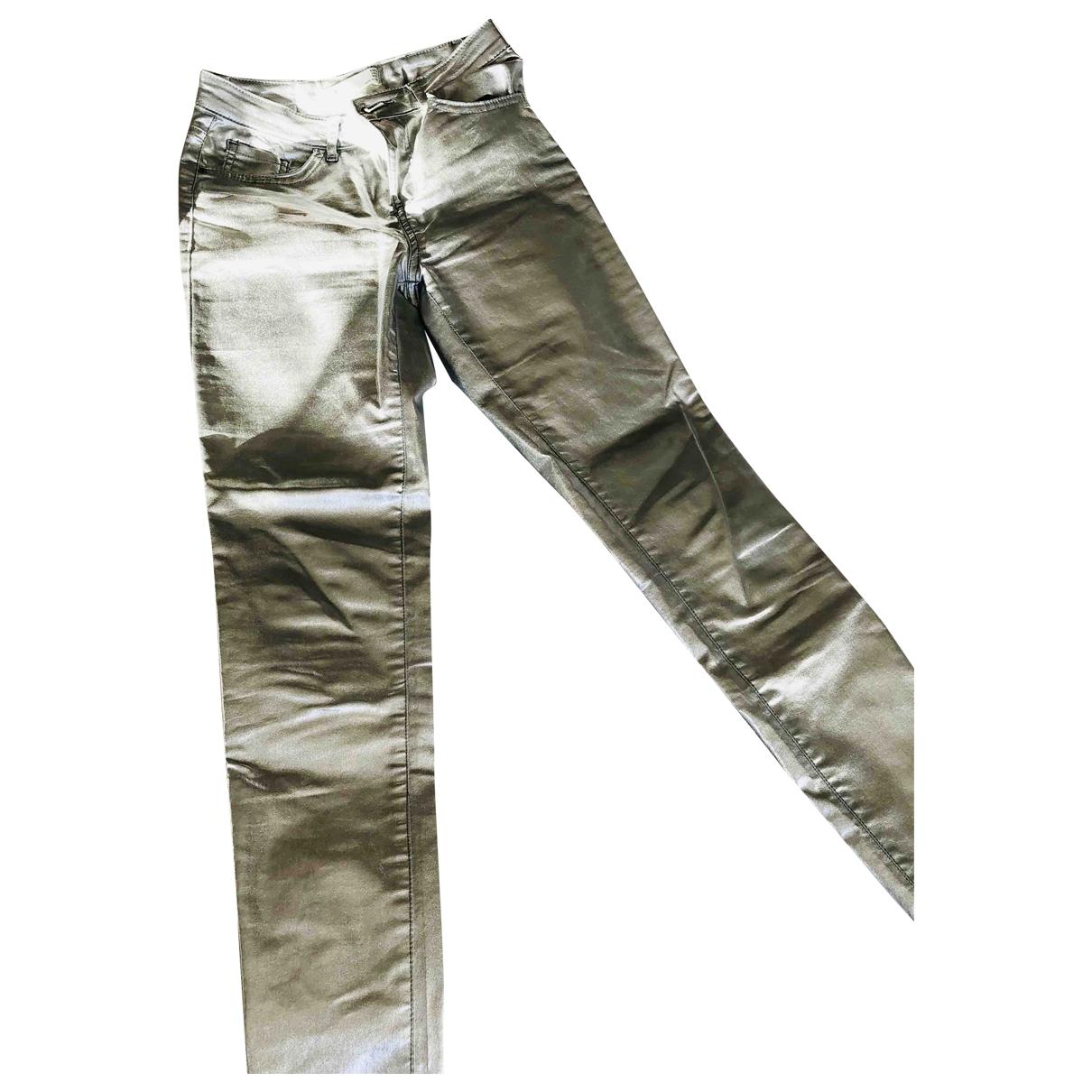 Zara \N Silver Cotton Jeans for Women 38 FR