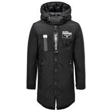 Guys Skull And Letter Graphic Hooded Puffer Coat