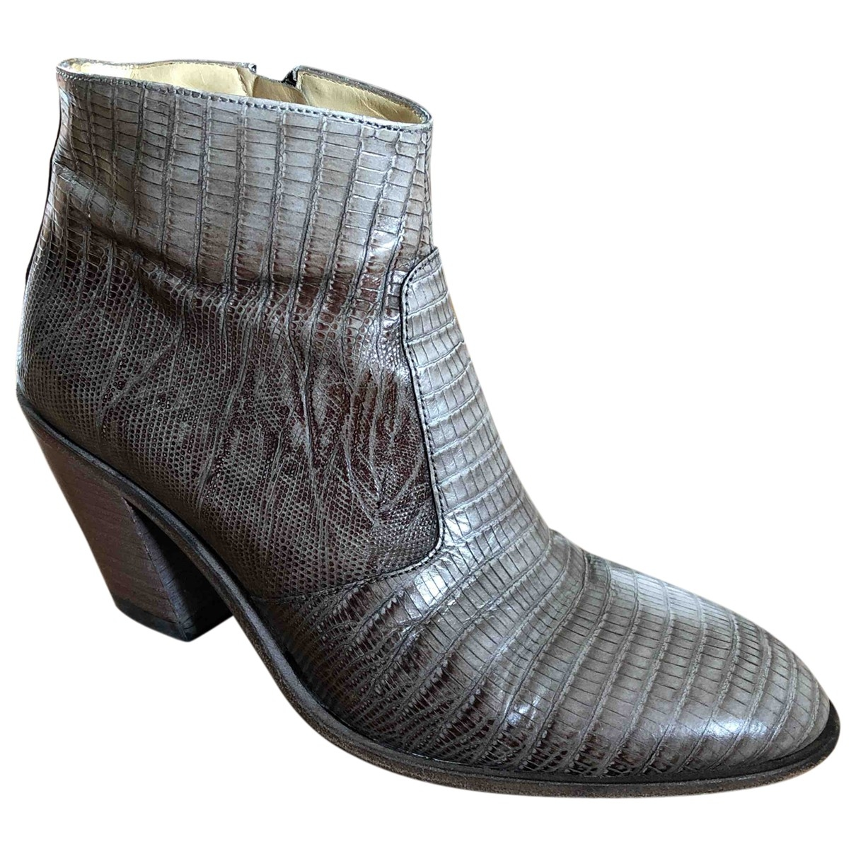 Free Lance \N Grey Leather Ankle boots for Women 37 EU