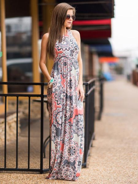 Milanoo Vestido largo Gris Moda Mujer con estampado sin mangas Vestidos de poliester con escote redondo Verano para ocasion informal
