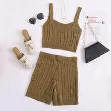 Strick Crop Top mit Zopf Muster & Shorts mit Taillenband Set