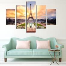 5 piezas pintura de pared con estampado de paisaje sin marco