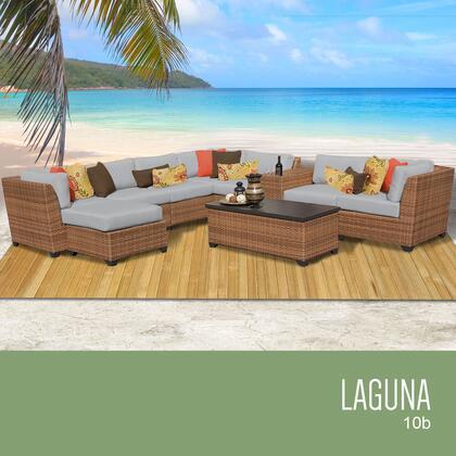LAGUNA-10b-GREY Laguna 10 Piece Outdoor Wicker Patio Furniture Set 10b with 2 Covers: Wheat and