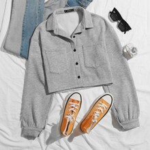 Button Front Heathered Gray Jacket