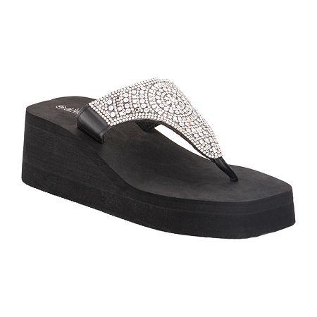 Olivia Miller Womens Flip-Flops, 6 , Black