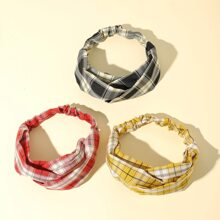 3 Stuecke Haarband mit Plaid Muster