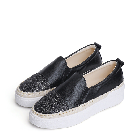 Yoins Black Sequins Stitching Slip-on Platform Loafers