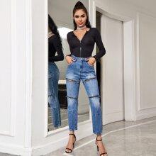 Crop Jeans mit Reissverschluss