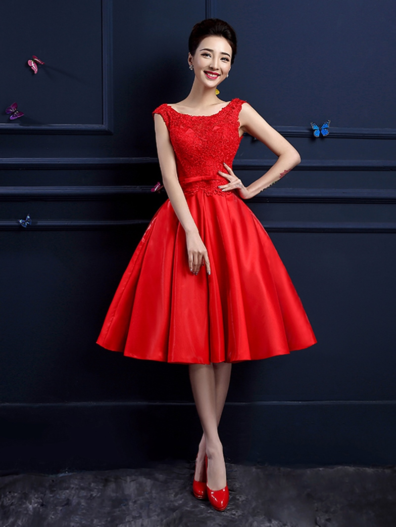 Ericdress A-line Cap Sleeves Knee-Length Lace Prom Dress