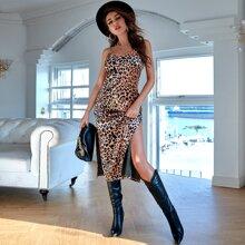 Samt Cami Kleid mit Schlitz und Leopard Muster