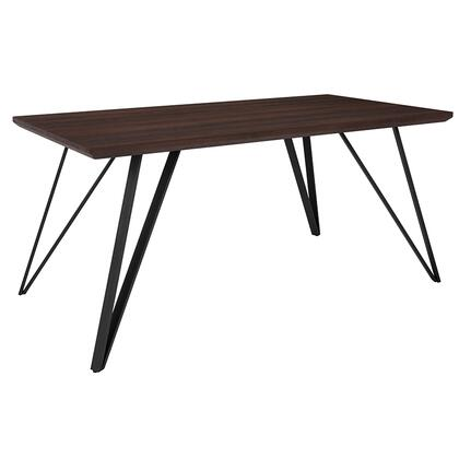 HG-DT012-64054-GG Corinth 31.5 x 63 Rectangular Dining Table in Dark Ash