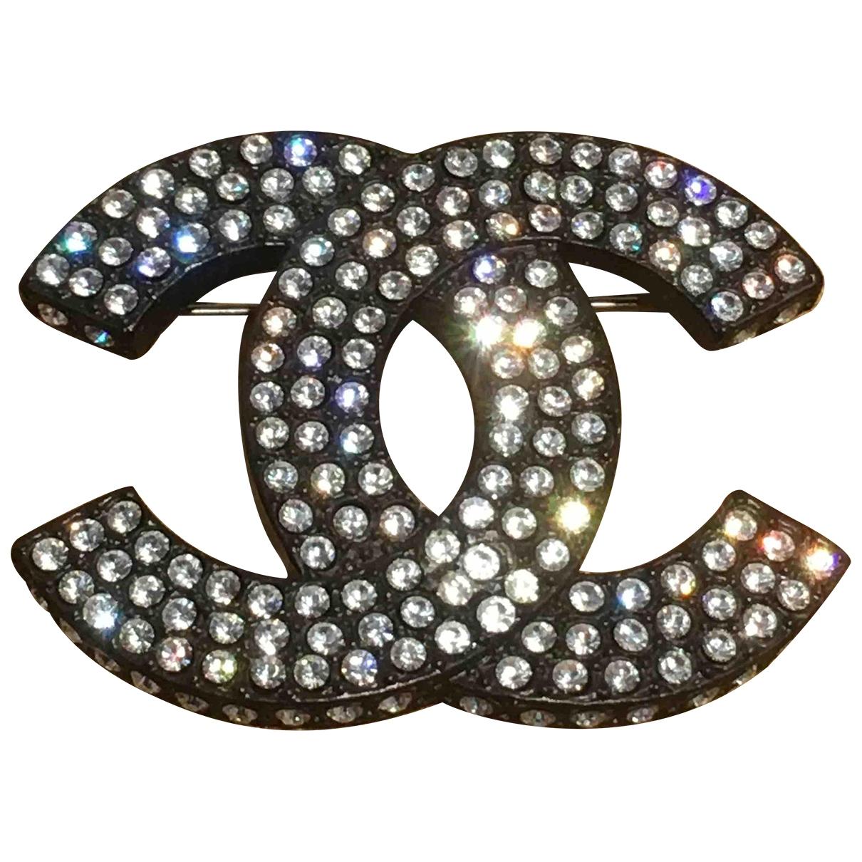 Chanel CC Brosche in  Schwarz Metall