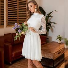 Mock-neck Lace Sleeve Schiffy Dress