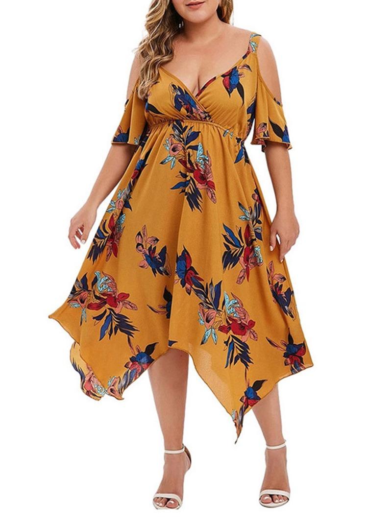 Ericdress V-Neck Print Mid-Calf Summer Asymmetrical Dress