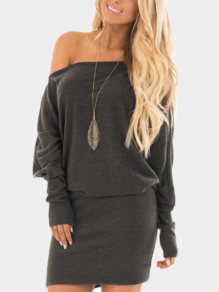 Yoins Grey Off Shoulder Knit Long Sleeves Mini dress