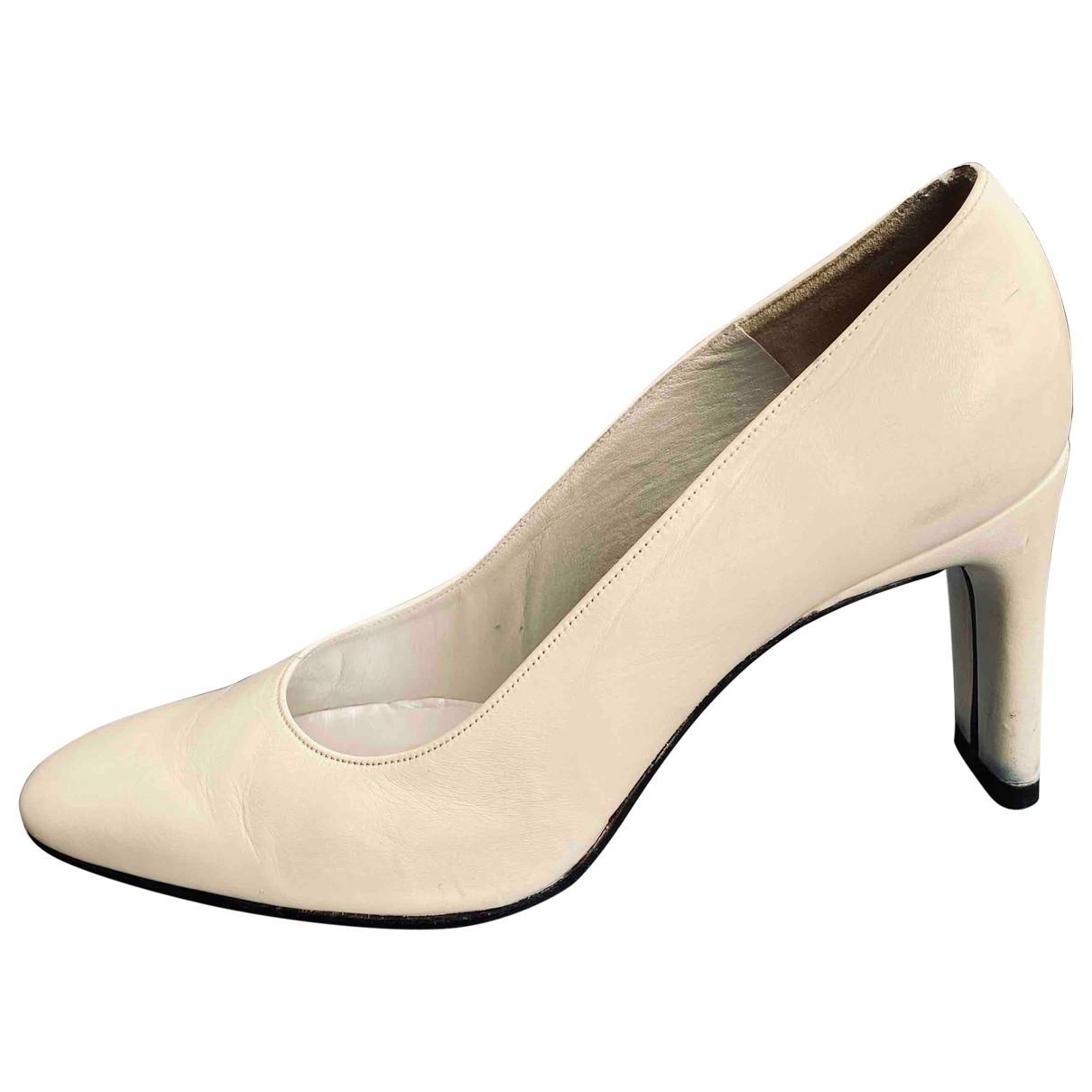 Charles Jourdan \N White Leather Heels for Women 38 EU