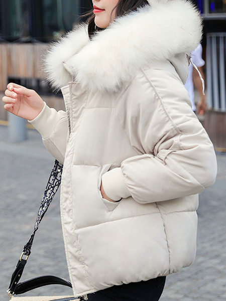 Milanoo Abrigo acolchado para mujer Blanco crudo Cremallera con capucha corta Manga larga Abrigo de invierno grueso clasico Prendas de abrigo