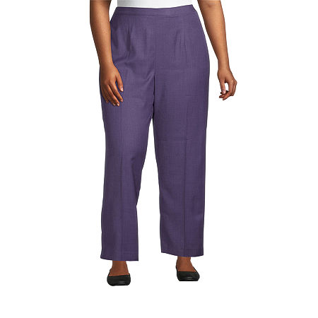 Alfred Dunner-Plus Short Womens Straight Flat Front Pant, 16w Short , Purple