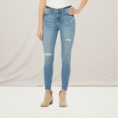 a.n.a Womens High Rise Ripped Jegging, 14 , Blue