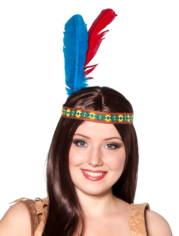 Kostuemzubehor Stirnband Indianer mit Federn bunt Farbe: multicolor bzw. bunt
