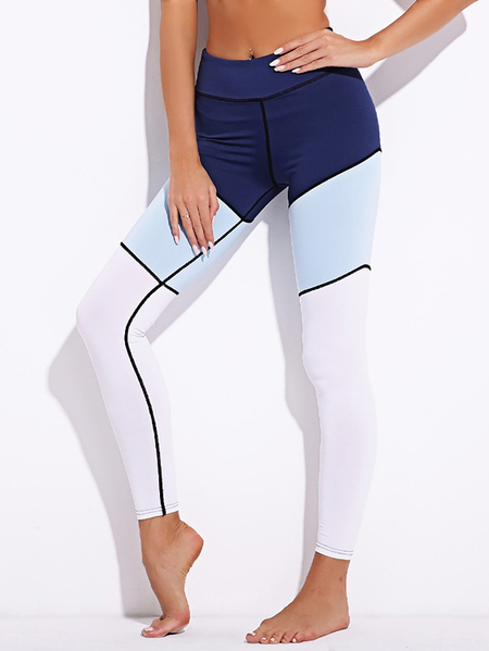 Yoins Active Stitching Design Contract Color Leggings in Blue