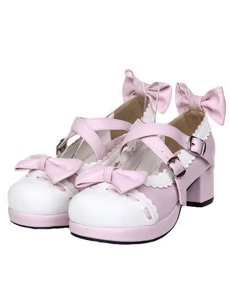 Milanoo Sweet Square Heels Lolita Shoes Bow Decor White Trim Round Toe