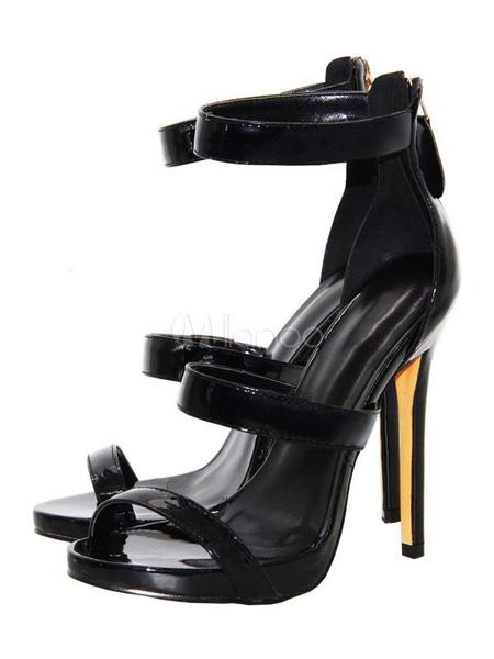Milanoo High Heel Sandals Womens Black Open Toe Ankle Strap Stiletto Heel Sandals