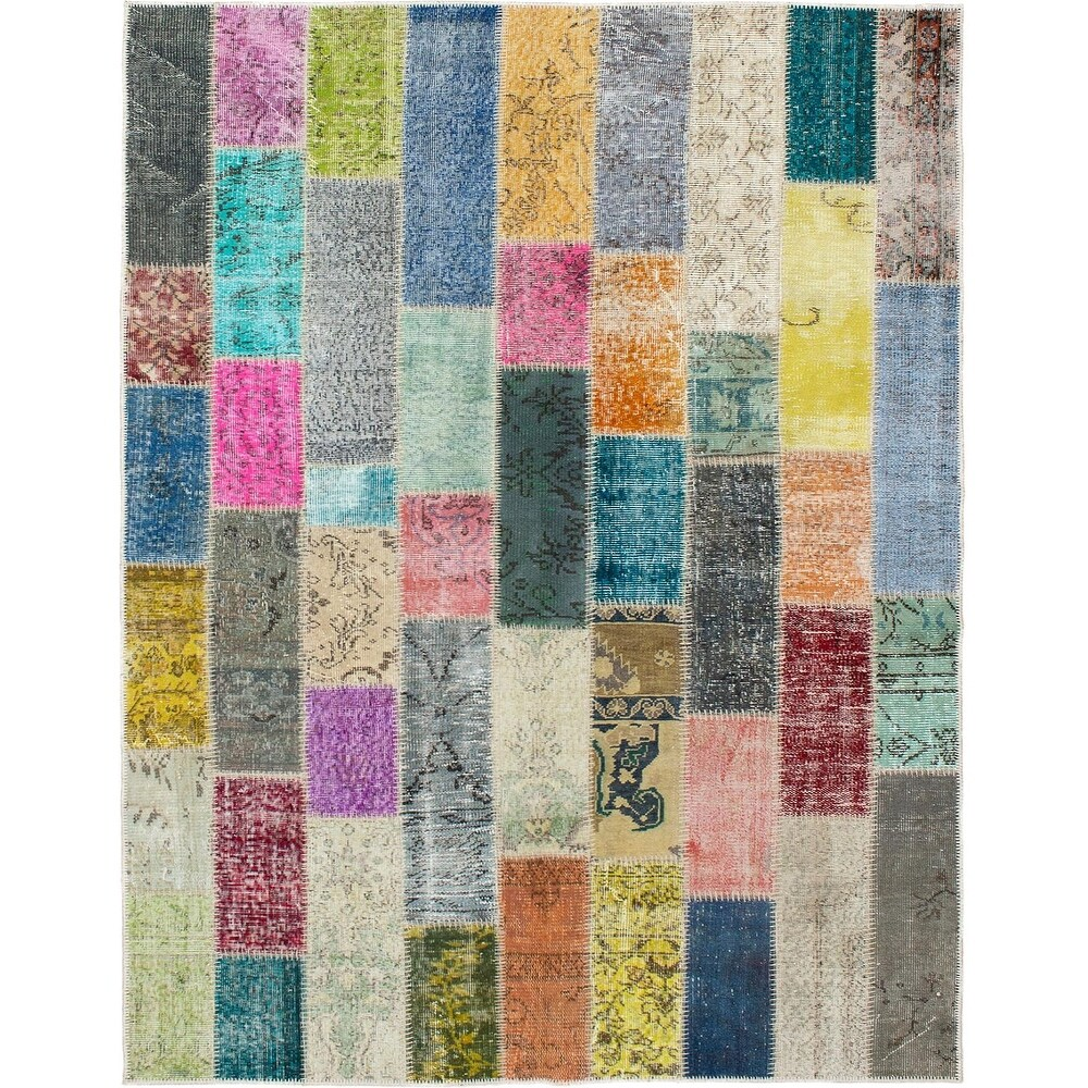 ECARPETGALLERY Hand-knotted Color Transition Patchwork Multi Wool Rug - 5'7 x 7'9 (Multi Color - 5'7 x 7'9)