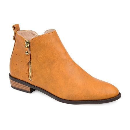 Journee Collection Womens Ellis Stacked Heel Booties, 9 Medium, Yellow