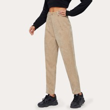 Button Fly Corduroy Carrot Pants