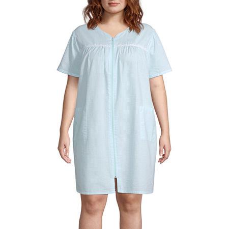 Adonna Womens Plus Short Sleeve Knee Length Robe, 1x , Blue