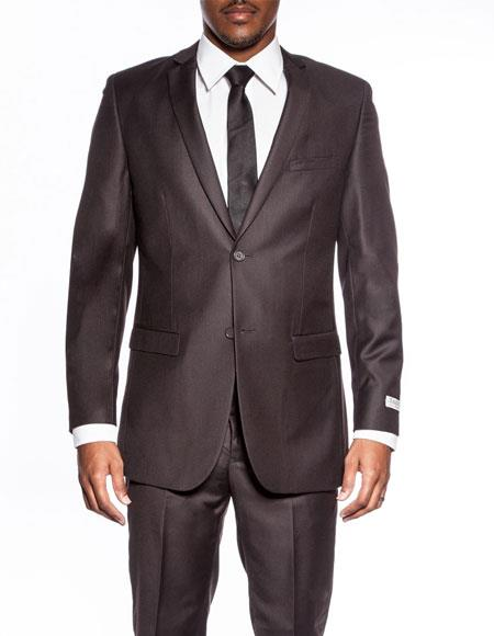 Mens Chocolate Brown extra slim fit wedding prom skinny suit