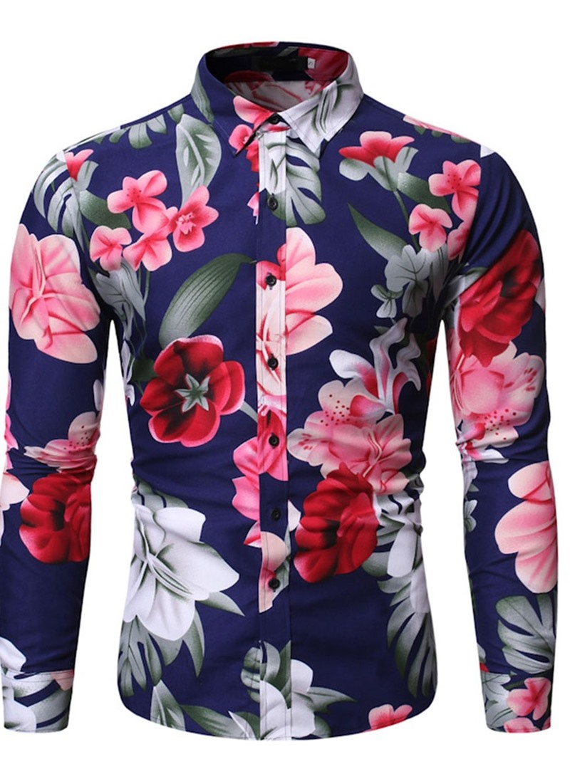 Ericdress European Floral Lapel Single-Breasted Slim Shirt