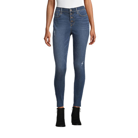 a.n.a. Womens High Rise Button Fly Jegging, 16 , Blue