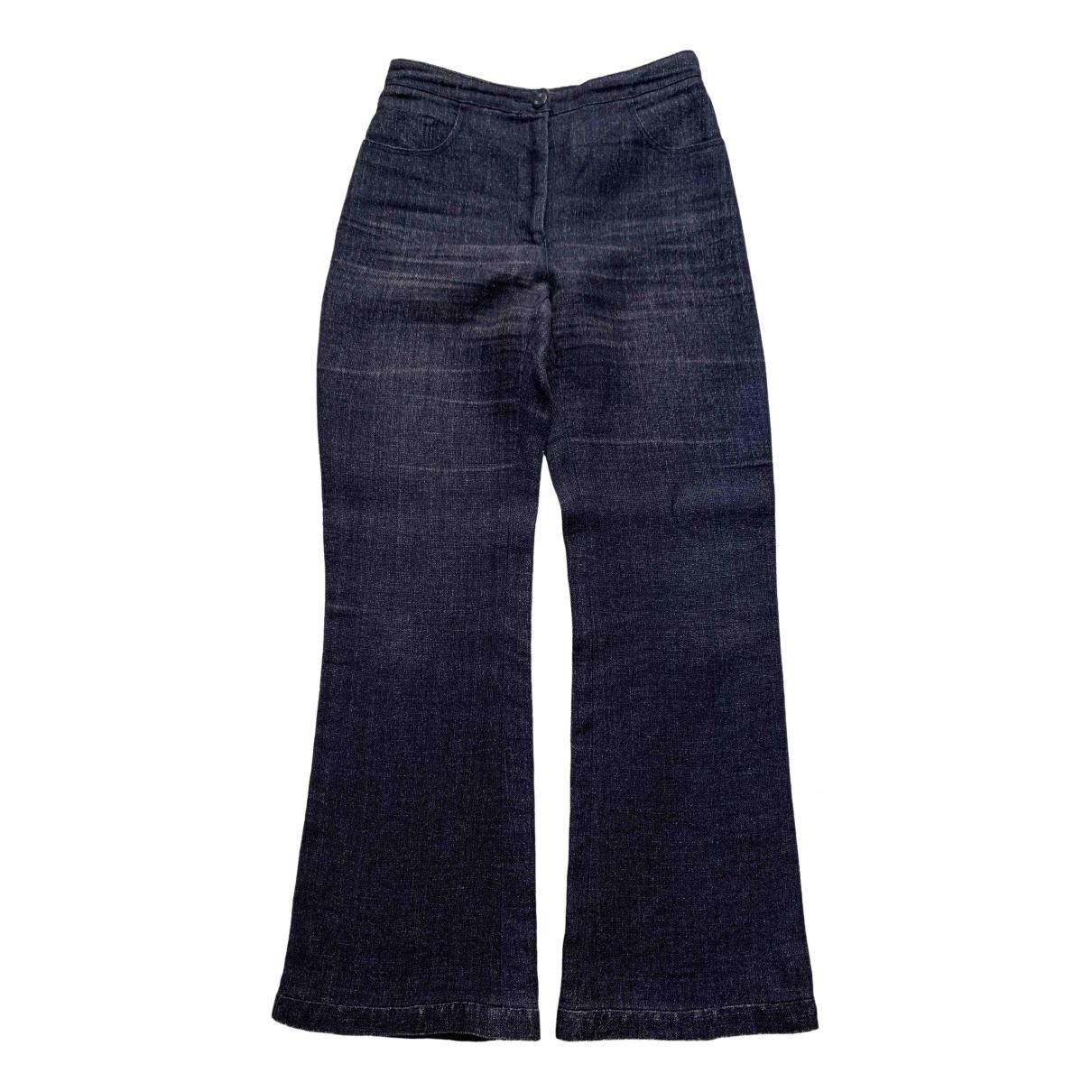 Chanel \N Navy Linen Trousers for Women 38 FR