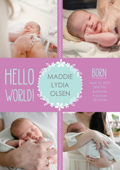 Newborn 5x7 Cards, Premium Cardstock 120lb with Elegant Corners, Card & Stationery -Hello World! Baby Announcement Girl by Well Wishes