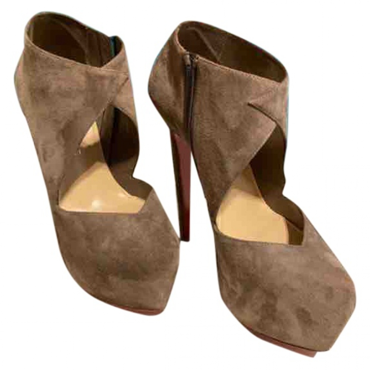 Christian Louboutin \N Beige Suede Ankle boots for Women 37 EU