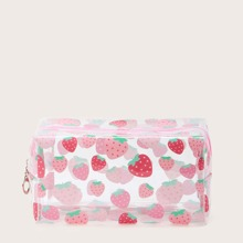 Clear Strawberry Pattern Makeup Bag