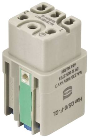 HARTING Han Q 0912 Series Connector Insert, Female, 5 Way, 16A, 400 V (10)