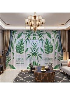 3D Green Leaves and Rain Drops Printed Fresh and Breathable 2 Panels Custom Sheer