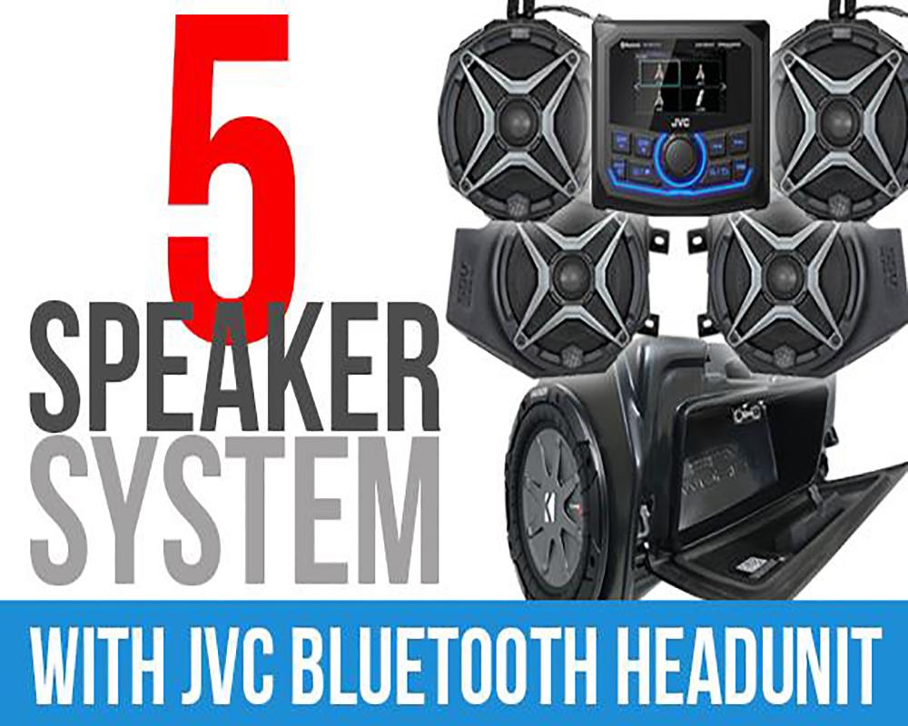 SSV Works RZ3-5A1 Complete 5 Speaker Plug and Play System w/ JVC Bluetooth Headunit Polaris RZR XP 1000 2014-2020
