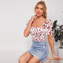 Puff Sleeve Shirred Floral Milkmaid Top