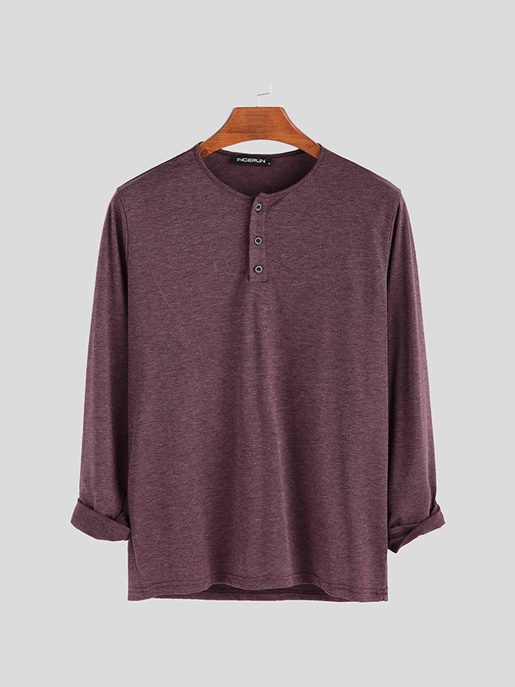Mens Brief Style Solid Color Breathable Casual Long Sleeve Henley Shirts