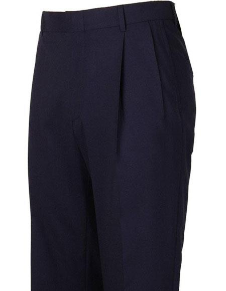 Mens Navy Pleated Style Atticus Classic Fit Wool Pant