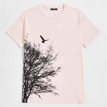 T-Shirt mit Baum & Vogel Muster
