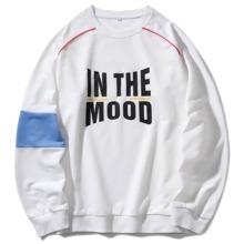 Pullover mit Kontrast Einsatz und Buchstaben Grafik