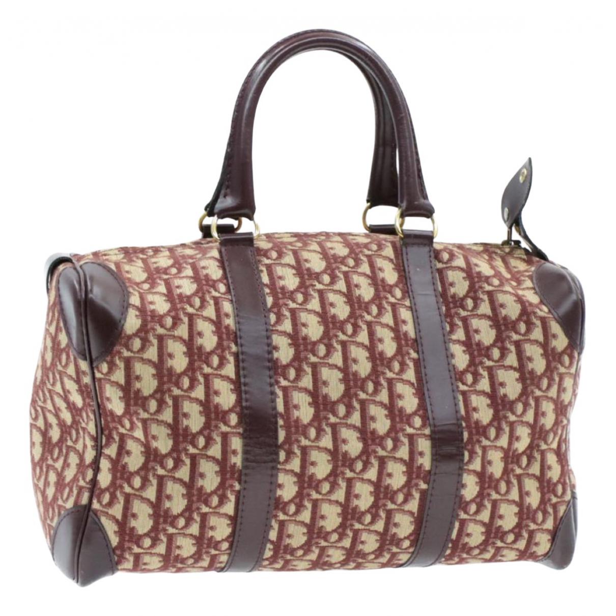 Dior Bowling Handtasche in  Bordeauxrot Leinen